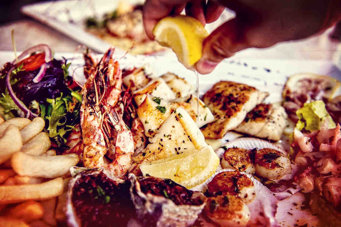 A shareable Seafood Platter awaits at Portorosa